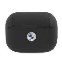 BMW BMAPSSLBK AirPods Pro cover czarny/black Geniune Leather Silver Logo