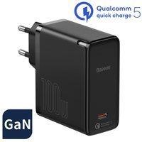Baseus GaN2 (gallium nitride) fast charger USB Type C 100 W Quick Charge 5 Power Delivery 3.0 + USB Type C - USB Type C cable 100 W (20 V / 5 A) 1,5 m black (TZCCGAN-L01)