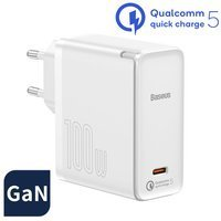 Baseus GaN2 (gallium nitride) fast charger USB Type C 100 W Quick Charge 5 Power Delivery 3.0 + USB Type C - USB Type C cable 100 W (20 V / 5 A) 1,5 m white (TZCCGAN-L02)