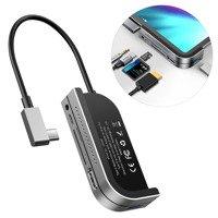Baseus HUB adapter from USB Type C to USB 3.0 / 4K HDMI / TF card reader, SD / USB Type C PD / 3.5mm mini jack dark gray (CAHUB-WJ0G)