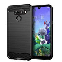 Carbon Case Flexible Cover TPU Case for LG Q60 / LG K50 black
