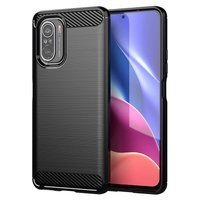 Carbon Case Flexible Cover TPU Case for Xiaomi Poco F3 black