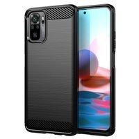 Carbon Case Flexible Cover TPU Case for Xiaomi Redmi Note 10 5G black