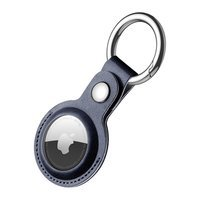 Dux Ducis PU leather key ring keychain case for Apple AirTag blue