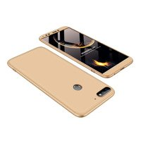 GKK 360 Protection Case Front and Back Case Full Body Cover Huawei Y7 Prime 2018 golden
