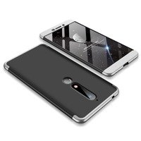 GKK 360 Protection Case Front and Back Case Full Body Cover Nokia 6.1 black-silver