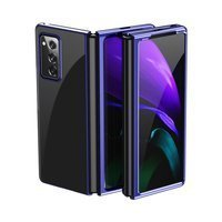 Plating Case hard case Electroplating frame Cover for Samsung Galaxy Z Fold 2 5G blue