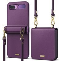 Ringke Folio Signature genuine leather case with flap and shoulder strap for Samsung Galaxy Z Flip purple (FOSG0003)