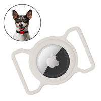Silicone flexible cover pet dog cat collar loop case for Apple AirTag white
