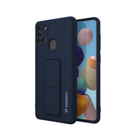 Wozinsky Kickstand Case flexible silicone cover with a stand Samsung Galaxy A21S dark blue