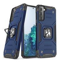 Wozinsky Ring Armor Case Kickstand Tough Rugged Cover for Samsung Galaxy S21 5G blue