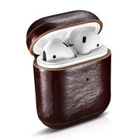 iCarer Leather Oil Wax natural leather case for AirPods 2 / AirPods 1 brown (WMAP011-CO)