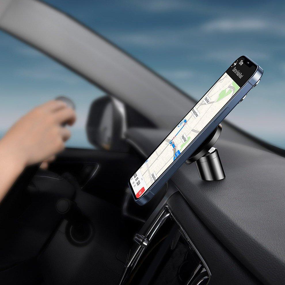 Cell phone holders | Baseus Radar magnetic car mount holder for dashboard / air vent (iPhone MagSafe compatible) black (SULD-01) | Sklep Hurtel - Sklep GSM, Akcesoria na tablet i telefon
