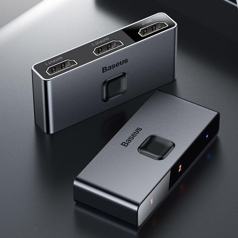 Cell phone cables | Baseus bidirectional HDMI - 2x HDMI splitter switcher  4K / 30 Hz gray (CAHUB-BC0G) | Sklep Hurtel - Sklep GSM, Akcesoria na  tablet i telefon