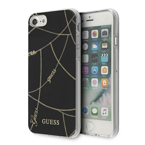 Guess GUHCI8PCUCHBK iPhone 7/8 / SE 2020 black / black hardcase Gold Chain Collection