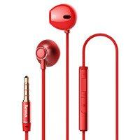 Baseus Encok H06 douszne słuchawki zestaw słuchawkowy z pilotem czerwony (NGH06-09)