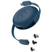Baseus Zinc Magnetic 3w1 magnetyczny zwijany kabel USB Typ C - USB Typ C / Lightning / micro USB Power Delivery 20W 1m niebieski (CAMLC-03)