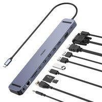 Choetech stacja dokująca adapter hub USB Typ C 11w1 100W PD szary (HUB-M20)