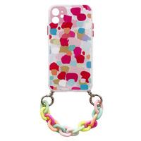 Color Chain Case żelowe elastyczne etui z łańcuchem łańcuszkiem zawieszką do iPhone XS / iPhone X wielokolorowy