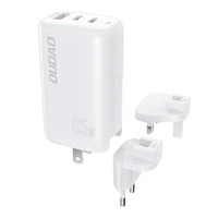 Dudao 3-portowa ładowarka GaN 3w1 (EU, US, UK) 2 x Typ C (PD) + USB (QC) 65W biała (A7PRO)