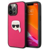 "Karl Lagerfeld KLHCP13XPKMP iPhone 13 Pro Max 6,7"" różowy/pink hardcase Leather Ikonik Karl`s Head Metal"