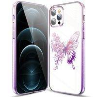 Kingxbar Butterfly Series błyszczące etui ozdobione oryginalnymi Kryształami Swarovskiego motyle iPhone 12 Pro / iPhone 12 różowy