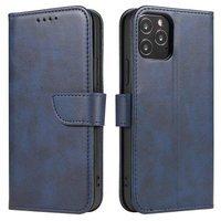 Magnet Case elegancki futerał etui pokrowiec z klapką i funkcją podstawki Huawei P40 Lite E niebieski