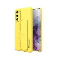 Wozinsky Kickstand Case elastyczne silikonowe etui z podstawką Samsung Galaxy S20 FE 5G żółty