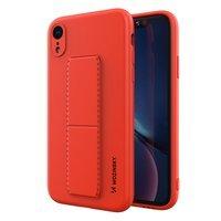 Wozinsky Kickstand Case elastyczne silikonowe etui z podstawką iPhone XR czerwony