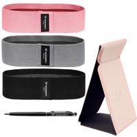 Wozinsky zestaw gumy materiałowe mini band 3szt. + Grip Stand samoprzylepny uchwyt podstawka do telefonu + rysik do ekranów dotykowych