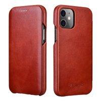 iCarer Curved Edge Vintage Folio skórzane etui pokrowiec ze skóry naturalnej iPhone 12 Pro Max czerwony (RIX1202 red)