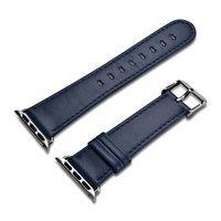 iCarer Leather Vintage opaska pasek z naturalnej skóry do zegarka Watch 3 38mm / Watch 2 38mm / Watch 1 38mm ciemnoniebieski (RIW117-DB(38))