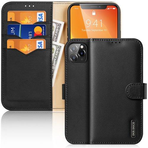 Dux Ducis Hivo skórzane etui z klapką pokrowiec ze skóry naturalnej portfel na karty i dokumenty iPhone 11 Pro Max czarny