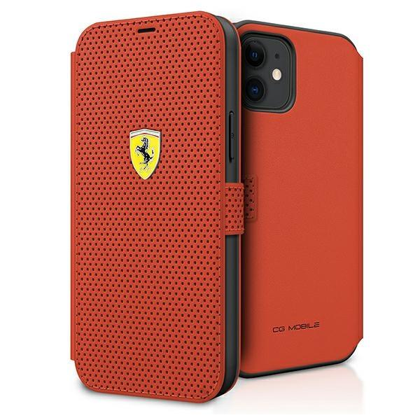 "Ferrari FESPEFLBKP12SRE iPhone 12 mini 5,4"" czerwony/red book On Track Perforated"